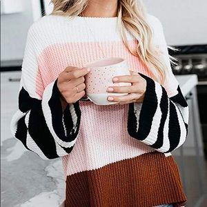 Sweaters - BNWT BELL BLOCK SWEATER PINK XL